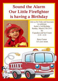 Boys Fire Fighter Birthday Invitation