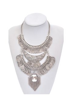 Bohemian Silver Coin Statement Necklace for £19.99. Get it from www.thefashionbible.co.uk