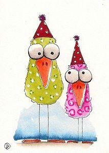 Cute Birds in Hats by #StressieCat♥•♥•♥