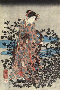 Utagawa Kuniyoshi (1798-1861) left panel of triptych Bush Clover by theTama River in Oumi Provence 1849-50
