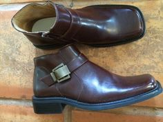 Beatle Boot Style Modern Buckle Shoes Square Toe Brown Leather Majestic 10.5  #MajesticCollection #ZipAnkleBoots