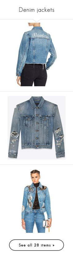 """Denim jackets"" by sjpj ❤ liked on Polyvore featuring outerwear, jackets, medium wash, blue denim jacket, blue jackets, embroidered jacket, blue jean jacket, embroidery jackets, coats and denim jackets"