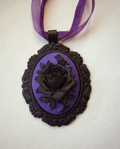 Black and Purple Rose Cameo Necklace. Organza Ribbon.
