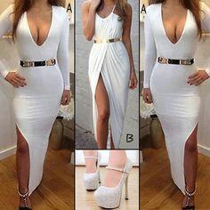 mirrior belt with white maxi dress