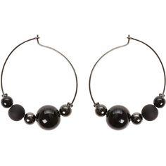Black Alfreda Beaded Hoop Earrings | Oliver Bonas ($21) ❤ liked on Polyvore featuring jewelry, earrings, olive jewelry, hoop earrings, beaded earrings, beading earrings and beading jewelry
