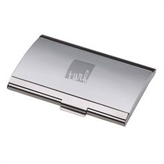 Pull a business card out of this chic case, and it will be more than just you everyone is impressed with. It features a shiny silver finish and an arched lid.  2-tone silver finish card case with arched lid.