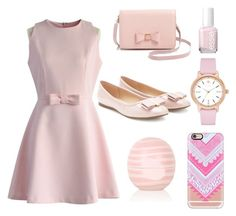 """""""Vintage Pink"""" by kiki2005 on Polyvore featuring Chicwish, Ted Baker, Essie, Casetify, Kate Spade, Topshop, Forever 21, vintage, women's clothing and women's fashion"""