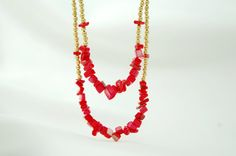 Red Mother of Pearl Beaded Gold Plated Necklace with Red by Myvera, $32.00