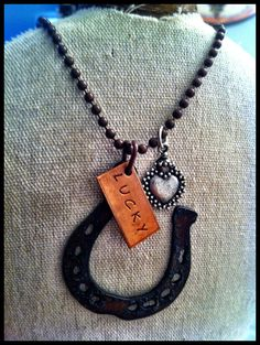 Hand Stamped, Rustic, Recycled Metal LUCKY Rusted Horseshoe Pendant, Bubbly Heart Charm Cluster Inspirational Necklace, $19.5