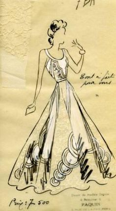 A sketch by Maison Paquin for Doris Duke - black dress with white lace geometric cut-outs