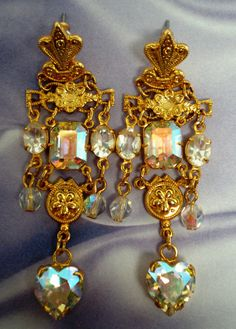 Vintage Earrings Chandelier Dangle Emerald Cut pear by BagsnBling, $24.50