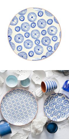 Blue and White Terra Cotta Salad Plates - Set of 4 | dotandbo.com  Pin your favorite product from today's sale at www.dotandbo.com/... for the chance to win a Modern Ash Wood Rocker!