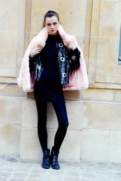 Model Flo Dron after Maison Schiaparelli at 21 place vendôme. Paris Couture Fashion Week Spring Summer 2016 FW16.