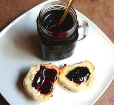 A beautiful dark purple jam made with acai, blueberries., and blackberries