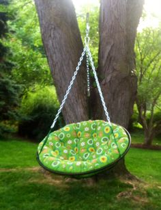 Exciting Outdoor Papasan Chair For Home Furniture Ideas: Hanging Outdoor Papasan Chair With Green Floral Cushion Seat For Garden Decoration Ideas