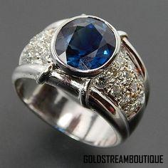 18k White Gold 4.18 Tcw Oval Sapphire & 0.97 Tcw Diamonds Wide Band Ri – Gold Stream Boutique