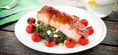 This dinner is quick to make, pretty to look at and (most importantly) deeply delicious. The salmon is coated with a sweet and savory sauce made from Chinese ho