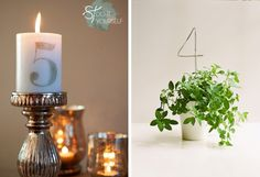 15 DIY Wedding Table Numbers | SouthBound Bride | http://www.southboundbride.com/15-diy-table-number-ideas | Credits: via Something Turquoise Studio 11 Weddings/Jen for Something Turquoise // Joy Thigpen/Ali Harper for Once Wed