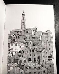 More Italian towns. Yes I admit I'm obsessed. Turned out more realistic than I'd imagined. But you can't rub out… City Drawing, Doodle Art Drawing, Illustration Art Drawing, Unique Drawings, Cool Art Drawings, Art Drawings Sketches, Planet Drawing, Perspective Drawing Lessons, Architecture Concept Drawings