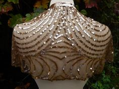 Vintage Art Deco gold sequin cape shrug with ties by abfabs10