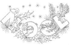 coloriage de Noël à imprimer animaux branchettes pin #Noël #christmasideas #kids