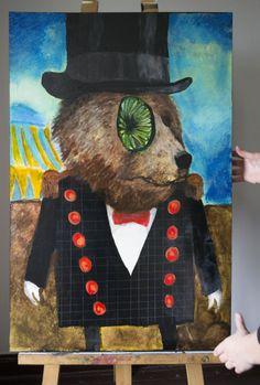 4 / 7    'STARENDE BEER'  Acryl op hout / Voor en achter vernist 30 cm breed - 90 cm hoog - 1 cm dik  Kunstenaar: Nyssa Lovrovic - 6PUG  STARTBOD = 20 euro