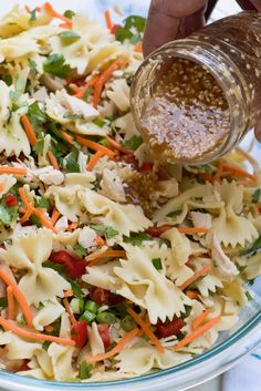 Asian Pasta Salad - has a satisfying crunchy texture and a completely addictive sesame-soy dressing that will have everyone coming back for seconds. Asian Pasta Salads, Broccoli Pasta Salads, Chicken Pasta Salad Recipes, Caesar Pasta Salads, Healthy Salad Recipes, Bowtie Pasta Salads, Chicken Ceasar Pasta Salad, Spinach Salads, Healthy Pasta Salad