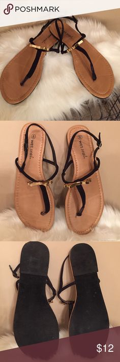 """""""I Really Thought It Was Kate"""" sandals Adorably simple black sandals with gold metal bow on top of sandal  buckle closure  Great with shorts or any sundress  Dint pass these beauties up Shoes Sandals"""
