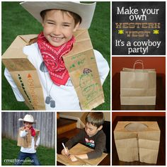 Creative Mama on a Dime: Make Your own Western Vests - Its a Western Cowboy Party--  Materials Needed: Large brown paper bags - lawn/leaf bags work if you can't find carrier bags. Scissors Markers Embellishments (optional) - yarn, beads, stickers, glitter, aluminum foil, western themed stamps, etc. Glue (optional) - only necessary if using embellishments Imagination.