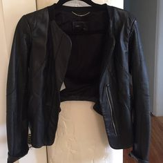 BCBG leather jacket BCBG black leather blazer-like jacket with cropped back and perforated leather panels BCBG Jackets & Coats