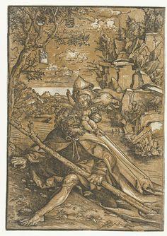 Lucas Cranach (I) | Heilige Christoffel met Christuskind, Lucas Cranach (I), 1506 - 1553 | Christoffel stapt uit het water op de rivieroever met het Christuskind op zijn schouder. Het kind houdt een wereldbol met een kruis vast. Aan de overkant van de rivier staat de kluizenaar met een lantaarn. In de boom hangen twee schilden met het keurvorstelijk en hertogelijk wapen van Saksen.
