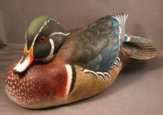 Wood Duck Drake Wood Carving Resting