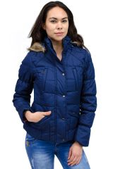 Faux Fur Trim Hooded Puffer Jacket Navy