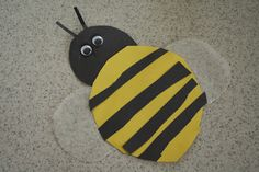 Bumblebee Craft - The bumblebee fits onto a standard size piece of paper. He cut out circles for the body and head of the bee and cut black stripes to glue on it also. I cut out wings for the bee using wax paper and then we added googly eyes and antennas to complete it.