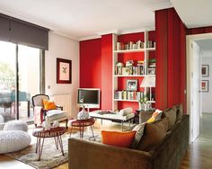 Color Trend - Red! Interesting Red Attic Design in Madrid- Cozy Red Living Room Design #homedecor #livingrooms #red
