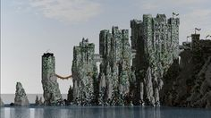 Castle Pyke, the seat of House Greyjoy from Game of Thrones looks stunning in Minecraft. Minecraft Medieval, Minecraft Castle, All Minecraft, Medieval Castle, Minecraft Ideas, Minecraft Kingdom, Minecraft Construction, Lego Castle, Minecraft Creations