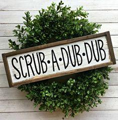 Scrub A Dub Dub | Pallet Sign | Bathroom Sign | Farmhouse Bathroom | Kids Bathroom | Rustic Bathroom | Wood Sign by EMPalletDesigns on Etsy https://www.etsy.com/listing/509778383/scrub-a-dub-dub-pallet-sign-bathroom
