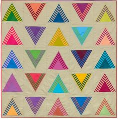 "Cool ""Triangulate"" quilt from Robert Kaufman. Free pattern will be available at link beginning in September 2014."