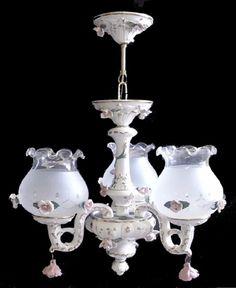 Capodimonte Italian Porcelain Chandelier 3 Lights & 3 Globes (New) #CeilingFixtures