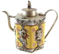 Vintage Handcrafted Tibetan Porcelain/Silver Teapot! WANT!!!!