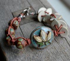 Ceramic Lotus Flower Bracelet with Macrame by LoreleiEurtoJewelry, $48.00