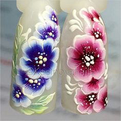 Роспись акриловыми красками One Stroke Nails, Flower Nail Art, Fabric Painting, Beauty Trends, Long Nails, Summer Nails, Nail Art Designs, Flowers, How To Make