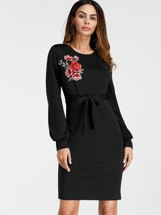 Shop Embroidered Applique Bishop Sleeve Slit Back Sheath Dress online. SheIn offers Embroidered Applique Bishop Sleeve Slit Back Sheath Dress & more to fit your fashionable needs. Sheath Dress, Bodycon Dress, Bishop Sleeve, Dress Backs, Women's Fashion Dresses, Maxi Dresses, Dresses Online, Cold Shoulder Dress, Dresses With Sleeves