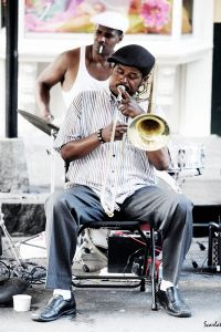 Street musician in New Orleans. A Night On The Town Tour with New Orleans Music Tours. Photo by Anthony Scarlati.