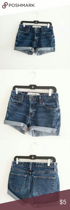 "Easter Sale! Gap Dark Wash Shorts WAIST - 29/30"" HIPS - 38/39"" RISE - 12"" LENGTH UNROLLED - 14"" STRETCH - very little MATERIAL - cotton, spandex HEM- hand cut, frayed  13"" rise and up is considered high waist, please measure yourself  These are more a size 2/3 listed as such, disregard tag size,   *I ship everyday except for Sunday GAP Shorts Jean Shorts"