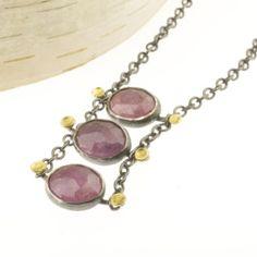 Lichen Ladder Pink Sapphire Necklace    Renee Ford Metals