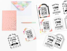 Printable Take Note You are Awesome Gift Tags, Printable Teacher Appreciation Tags, Friendship Gift Tags by SUNSHINETULIPDESIGN on Etsy