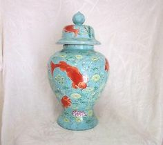 Vintage Chinese Hand Painted Porcelain Koi Ginger Jar ca: 1950's