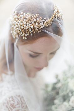 Fresh water pearl and gold headdress Hermione Harbutt