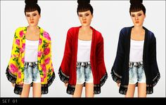 My Sims 3 Blog: Updated - Now Base Game Compatible Accessory Kimono Jackets by Modish Kitten